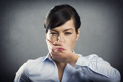 Furious young businesswoman. Royalty Free Stock Photo