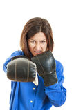 Furious young businesswoman in boxing concept Royalty Free Stock Image