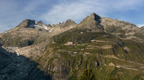 Furka Pass - mountain pass. Furka Pass (el. 2436 m.) is a high mountain pass in the Swiss Alps royalty free stock images