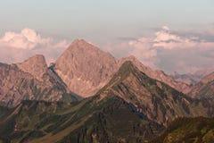 Furkajoch przepustka - zmierzchów widoki nad Bregenzerwald górami od Furkajoch przechodzą obrazy royalty free