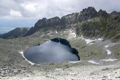 Furkot valley hiking trail in High Tatras, Soliasko, Slovakia, summer touristic season, wild nature, touristic trail,. Mountain lake and snow around Royalty Free Stock Photos
