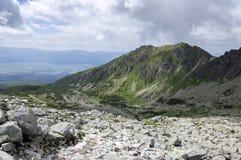 Furkot valley hiking trail in High Tatras, summer touristic season, wild nature, touristic trail,. Hard terrain, panoramic view Royalty Free Stock Photo