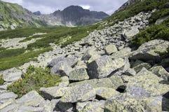 Furkot valley hiking trail in High Tatras, summer touristic season, wild nature, touristic trail,. Hard terrain Royalty Free Stock Photo