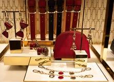 Furla妇女袋子、传送带和辅助部件 免版税库存照片