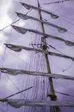 Furled sails on the ship Royalty Free Stock Image