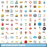 100 furlough icons set, cartoon style Royalty Free Stock Photo
