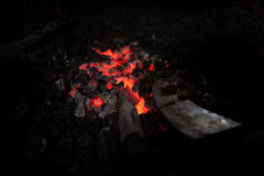 Furnace with charcoal and knifes Stock Photography