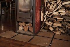 Furnace fire indoor firewood home. Firewood furnace home indoors village room stock images
