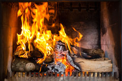 Furnace with flames Royalty Free Stock Image