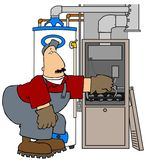 Furnace Man. This illustration depicts an HVAC technician working on a gas furnace