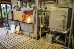 Furnaces in the glass factory Royalty Free Stock Photos
