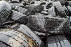 Furnaces for pyrolysis, processing and disposal of old tires. Industrial photo. Stock Photo