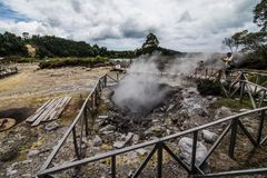 FURNAS, AZORES - Juny, 2018: Geothermal cooking in Fumarolas da Lagoa das Furnas on Sao Miguel island, Azores.