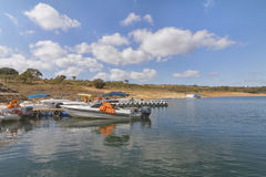 Furnas Dam in Minas Gerais, Brazil. Wharfs for pleasure motor boats Stock Image