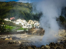 Furnas town and fumaroles Royalty Free Stock Images