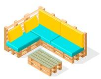 Furneture isométrico de la plataforma Plataforma cómoda para sentarse con una tabla Vector Imágenes de archivo libres de regalías