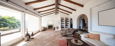 Furnish living room with beautiful timber beams Royalty Free Stock Image