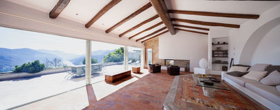 Furnish living room with beautiful timber beams Royalty Free Stock Images