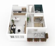 Furnished home apartment 3d illustration Stock Photo