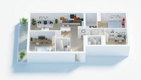 Furnished home apartment 3d render Royalty Free Stock Photo