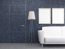 Furnished interior with blue wall Royalty Free Stock Photo