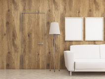 Furnished interior with wooden wall Royalty Free Stock Photography