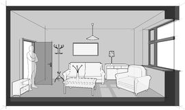 Furnished living  room diagram. Diagram of a single room furnished with sofa, chair, table, cabinets, ceiling lamp, cloths hanger and painting on the wall Royalty Free Stock Photos