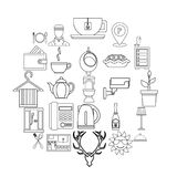 Furnished rooms icons set, outline style. Furnished rooms icons set. Outline set of 25 furnished rooms vector icons for web isolated on white background Stock Images