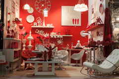 Furnishing and accessories on display at HOMI, home international show in Milan, Italy royalty free stock photos