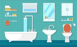 Furnishing bathroom interior. With bath washbasin and toilet Stock Images