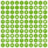100 furnishing icons hexagon green. 100 furnishing icons set in green hexagon isolated vector illustration Stock Images