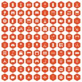 100 furnishing icons hexagon orange. 100 furnishing icons set in orange hexagon isolated vector illustration Royalty Free Stock Photos