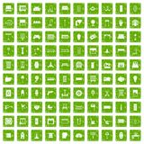100 furnishing icons set grunge green Royalty Free Stock Image