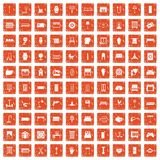 100 furnishing icons set grunge orange. 100 furnishing icons set in grunge style orange color isolated on white background vector illustration Stock Image