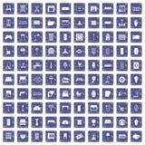 100 furnishing icons set grunge sapphire. 100 furnishing icons set in grunge style sapphire color isolated on white background vector illustration Stock Images