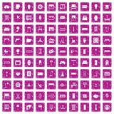 100 furnishing icons set grunge pink. 100 furnishing icons set in grunge style pink color isolated on white background vector illustration Royalty Free Stock Photography