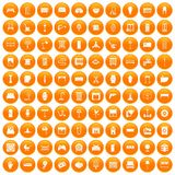 100 furnishing icons set orange. 100 furnishing icons set in orange circle isolated vector illustration Royalty Free Stock Photography