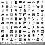 100 furnishing icons set, simple style. 100 furnishing icons set in simple style for any design vector illustration Royalty Free Stock Photo
