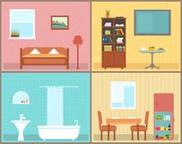 Furnishing interior rooms on home. interior view house. Rooms for furnishing concept Royalty Free Stock Images