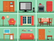 Furnishing interior set for rooms in home. Concept interior icons with furniture Stock Photo