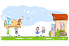 Furnishing a new home. Illustration of two characters carrying a sofa towards another couple outside their new home whose door is wide open Royalty Free Stock Image