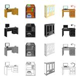 Furnishings amenities. Style and other  icon in cartoon style.Office building firm icons in set collection Stock Photos