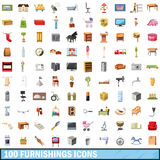 100 furnishings icons set, cartoon style. 100 furnishings icons set in cartoon style for any design vector illustration stock illustration