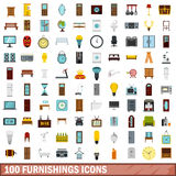 100 furnishings icons set, flat style Royalty Free Stock Image