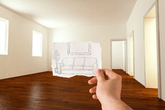 Furnishings idea. Sketch idea for furnishing the living room Royalty Free Stock Photo