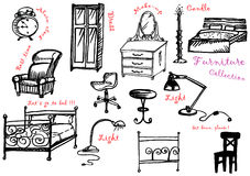 Furniture 1. Jpeg and vector black and white picture with the furniture Royalty Free Stock Image