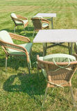 Furniture. Patio furniture on green lawn Royalty Free Stock Photos