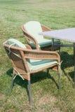 Furniture. Patio furniture on green lawn Stock Photos