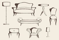 Furniture. Set of vintage antique decorative furniture Royalty Free Stock Images