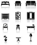 Furniture. Black and white furniture icons set Stock Photos
